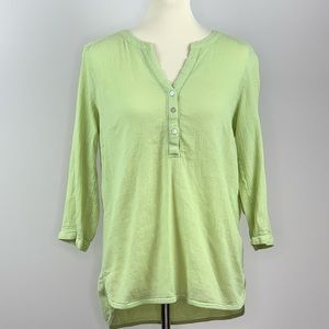 J.Jill Green Button Down Tunic Blouse Medium